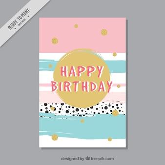Tarjeta de felicitación de cumpleaños con círculos dorados