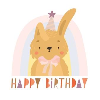 Tarjeta de felicitación de cumpleaños de conejito dibujado a mano vector gratuito