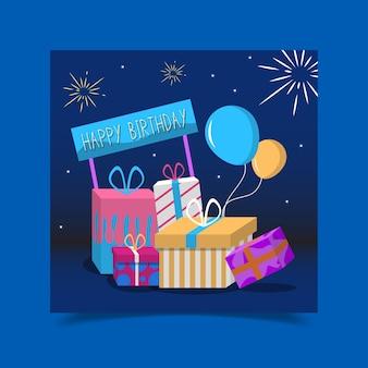 Tarjeta de felicitación de cumpleaños decorada con cajas de regalo.