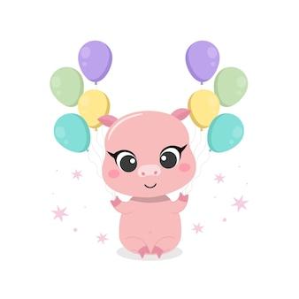 Tarjeta de felicitación de cumpleaños feliz con cerdo y globos