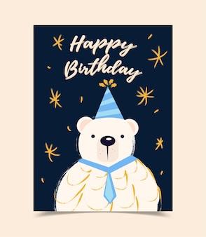 Tarjeta de felicitación de cumpleaños feliz decorada con oso