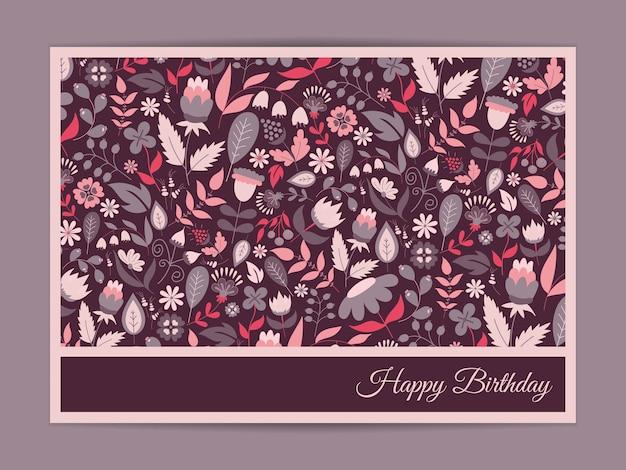 Tarjeta de felicitación de cumpleaños feliz, con flores