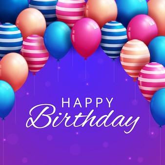 Tarjeta de felicitación de cumpleaños feliz con globos