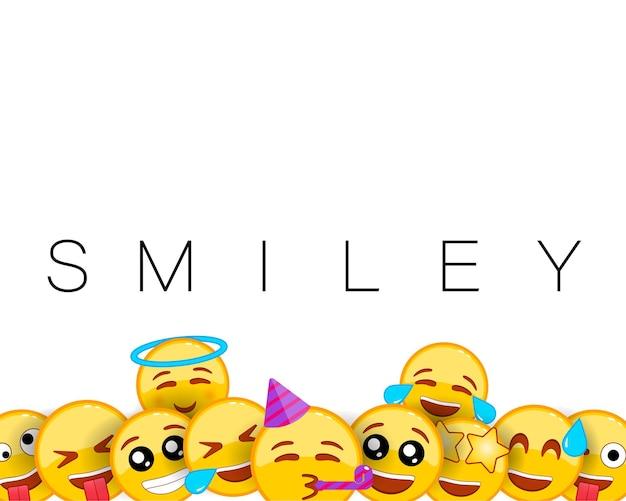 Tarjeta de felicitación de cumpleaños feliz sonrisa o fondo sonriente con emoticonos amarillos de expresiones faciales divertidas y felices.