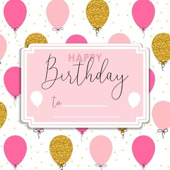 Tarjeta de felicitación de cumpleaños con globo dorado y rosa