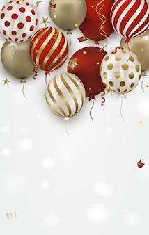 Tarjeta de felicitación de cumpleaños con globos aerostáticos dorados, rojos 3d y confeti que cae