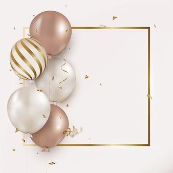Tarjeta de felicitación de cumpleaños con globos de helio, confeti volando en blanco.