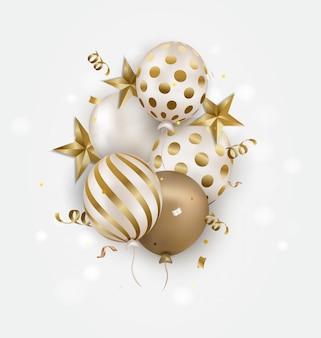 Tarjeta de felicitación de cumpleaños globos de oro y confeti cayendo.