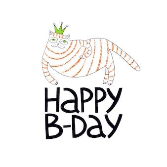 Tarjeta de felicitación de cumpleaños con lindo gato con corona gatos cumpleaños letras de mano feliz cumpleaños