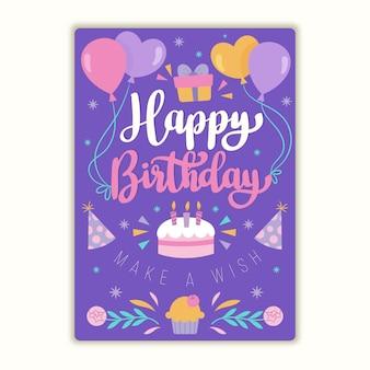 Tarjeta de felicitación de cumpleaños orgánica plana con letras