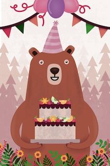 Tarjeta de felicitación de cumpleaños con oso y pastel