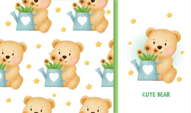 Tarjeta de felicitación de cumpleaños de patrones sin fisuras con lindo oso de peluche.