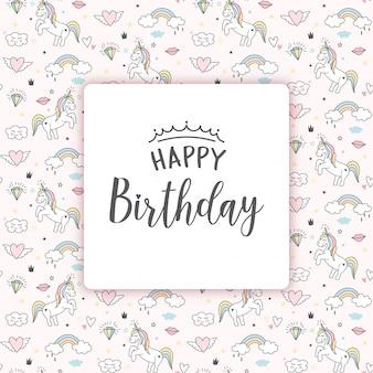 Tarjeta de felicitación de cumpleaños con unicornios