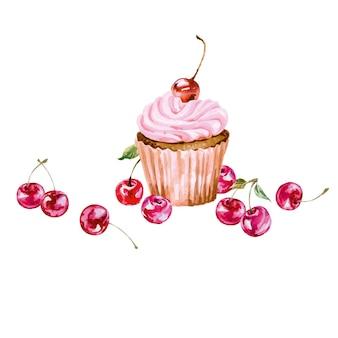 Tarjeta de felicitación con cupcake acuarela y cereza ilustración vectorial