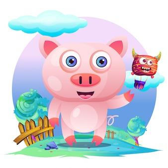Tarjeta de felicitación cute pig cartoon