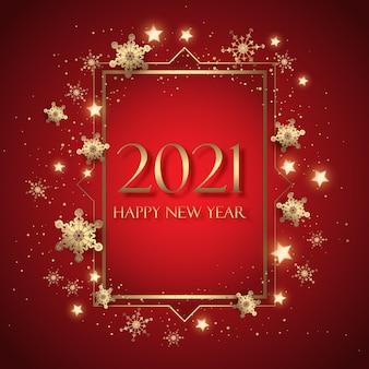 Tarjeta de felicitación decorativa de feliz año nuevo con diseño de copos de nieve y estrellas