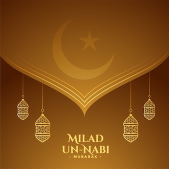Tarjeta de felicitación decorativa del festival islámico milad un nabi