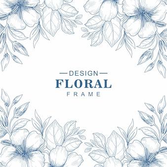 Tarjeta de felicitación decorativa floral marco dibujo fondo