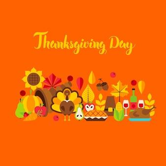 Tarjeta de felicitación del día de acción de gracias. ilustración de vector. concepto de vacaciones de otoño.