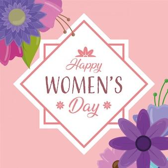 Tarjeta de felicitación del día feliz de las mujeres con flores de marco en rosa