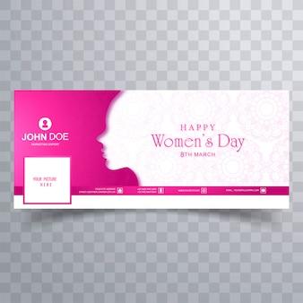 Tarjeta de felicitación del día feliz de las mujeres con plantilla de portada de facebook