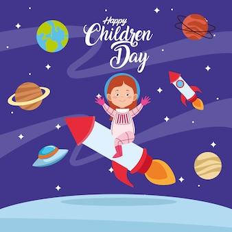 Tarjeta de felicitación del día feliz de los niños con niña en el espacio