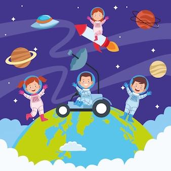 Tarjeta de felicitación del día feliz de los niños con niños en el espacio