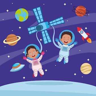 Tarjeta de felicitación del día feliz de los niños con pareja de niños en el espacio