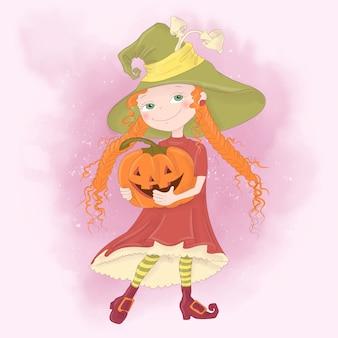 Tarjeta de felicitación del día de fiesta de halloween con la bruja linda, calabaza