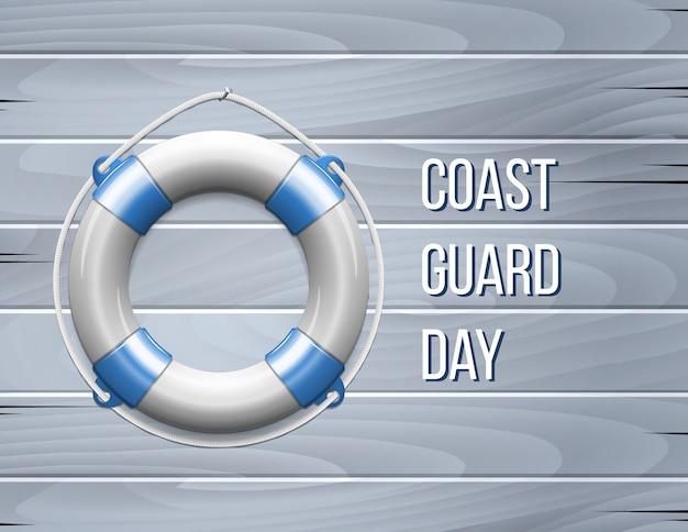 Tarjeta de felicitación del día de la guardia costera con salvavidas