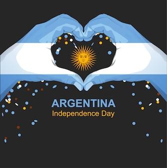 Tarjeta de felicitación del día de la independencia de argentina. manos palma bandera argentina sostener sol