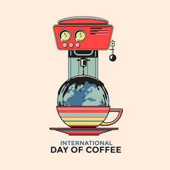 Tarjeta de felicitación del día internacional del café