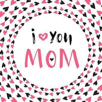Tarjeta de felicitación del día de la madre. cartel imprimible del vector rotulación a mano