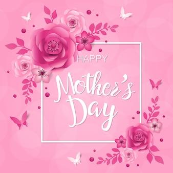 Tarjeta de felicitación del día de la madre, diseño con marco y flores.