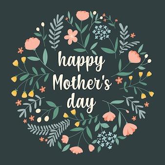 Tarjeta de felicitación del día de la madre feliz con un arreglo floral redondo