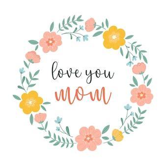Tarjeta de felicitación del día de la madre feliz con una corona de flores