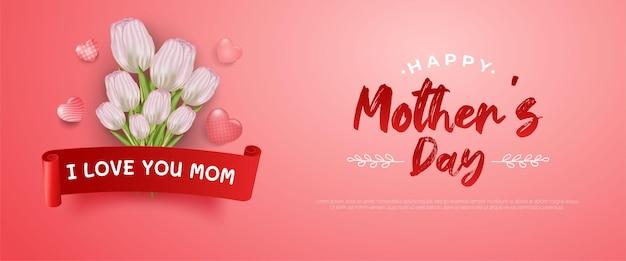 Tarjeta de felicitación del día de la madre feliz con flor y corazón