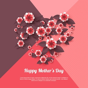 Tarjeta de felicitación del día de la madre feliz. flores de papel cortadas