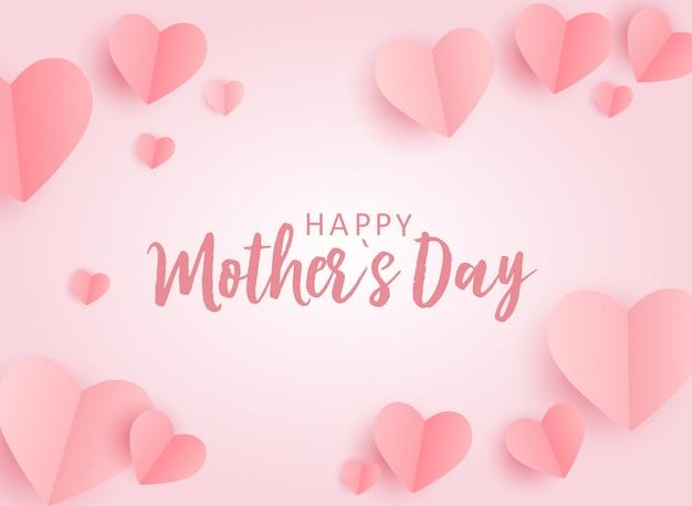 Tarjeta de felicitación del día de la madre feliz con fondo de papel origami hes. ilustración