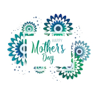 Tarjeta de felicitación del día de la madre con flores en flor.