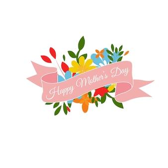 Tarjeta de felicitación del día de la madre con flores y letras ilustración vectorial