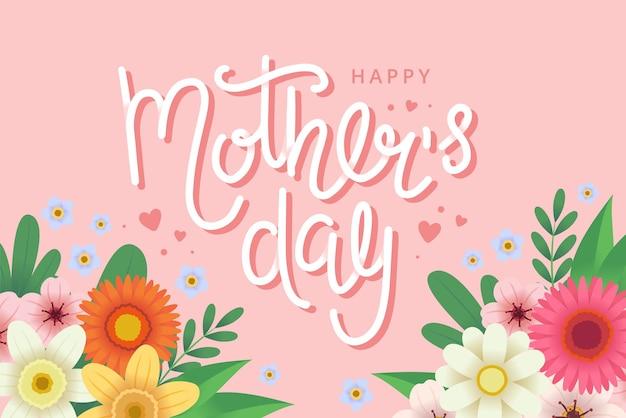 Tarjeta de felicitación del día de la madre con flores y letras.