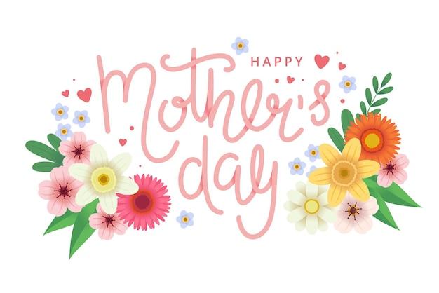 Tarjeta de felicitación del día de la madre con flores y letras