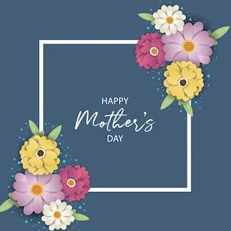 Tarjeta de felicitación del día de la madre con flores.