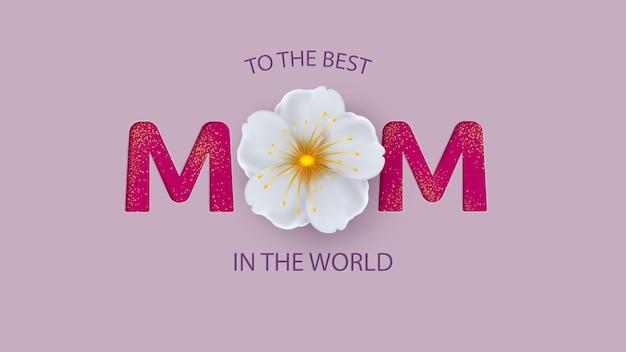 Tarjeta de felicitación del día de la madre con hermosas flores en flor.