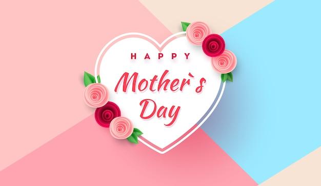 Tarjeta de felicitación del día de la madre con hermosas flores en flor