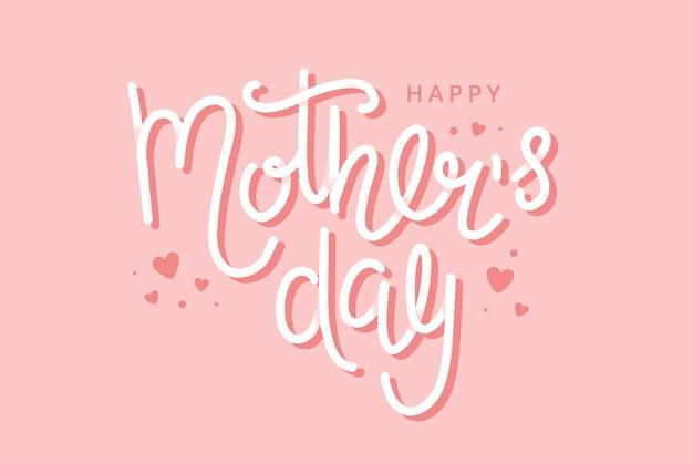 Tarjeta de felicitación del día de la madre con letras dibujadas a mano