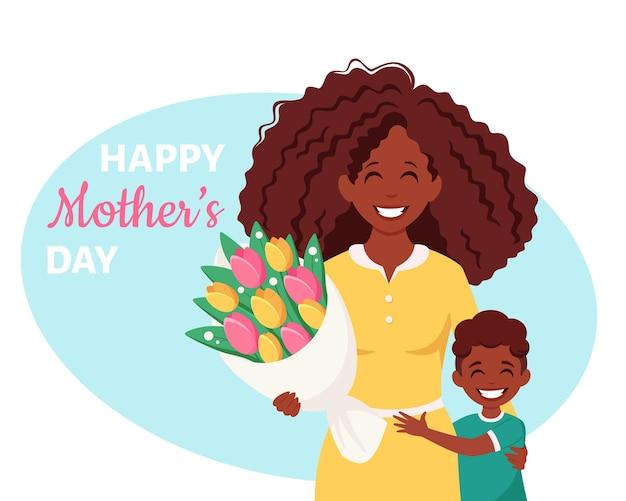 Tarjeta de felicitación del día de la madre mujer negra con ramo e hijo