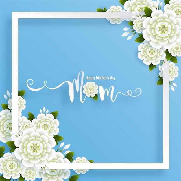 Tarjeta de felicitación del día de la madre con papel dorado cortado estilo artesanal de arte en color fondo para tarjeta de felicitación, invitación.