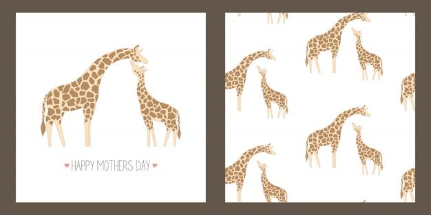 Tarjeta de felicitación para el día de la madre y de patrones sin fisuras con linda jirafa.